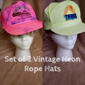 Vintage Neon Rope Hats Set of 2 - Yellow Pink